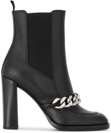 Black Biker 105 Leather Ankle Boots