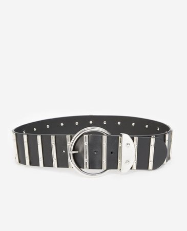 Black skinny leather belt with silver details | The Kooples