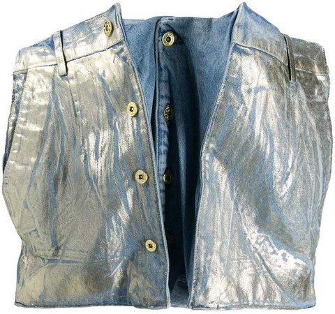 Denim Metallic Deconstructed Skirt