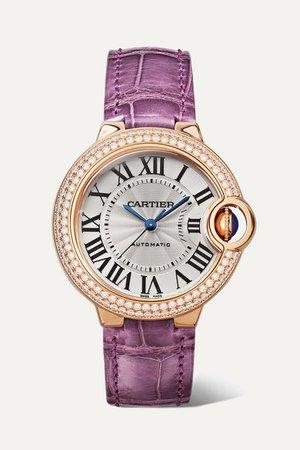 Cartier | Ballon Bleu de Cartier 33mm 18-karat pink gold, alligator and diamond watch | NET-A-PORTER.COM