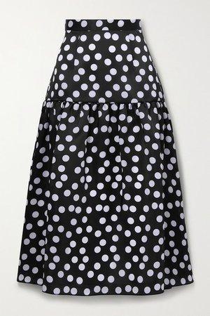Tiered Polka-dot Silk Midi Skirt - Black