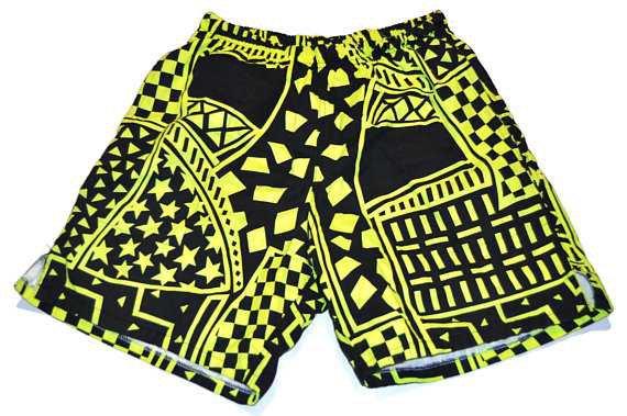 Vintage 1980's Shorts Neon Yellow and Black Pattern Swim