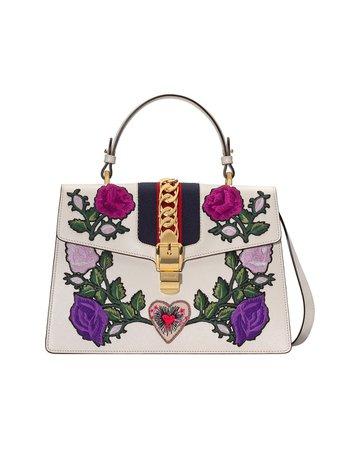 Gucci White Embroidered Sylvie Medium Tote Bag Ss19 | Farfetch.com