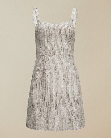 Textured mini dress - Silver   Dresses   Ted Baker