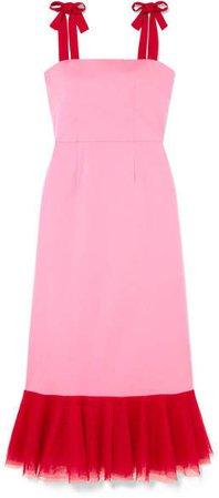 STAUD - Langdon Tulle-trimmed Stretch-cotton Poplin Dress - Pink