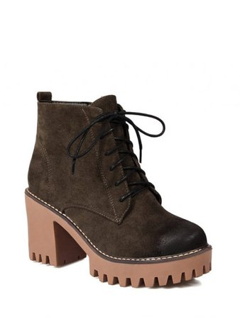 [32% OFF] 2019 Tie Up Chunky Heel Zip Ankle Boots In ARMY GREEN | ZAFUL GB