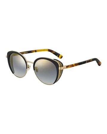 Jimmy Choo Gabby Mirrored Metal & Acetate Cat-Eye Sunglasses   Neiman Marcus
