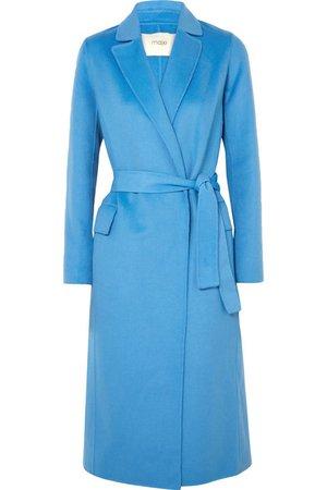 MAJE Belted brushed wool-blend felt coat