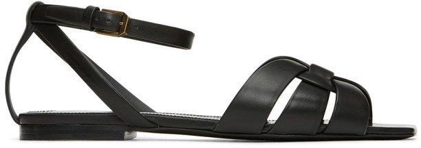 Black Tribute Flat Sandals