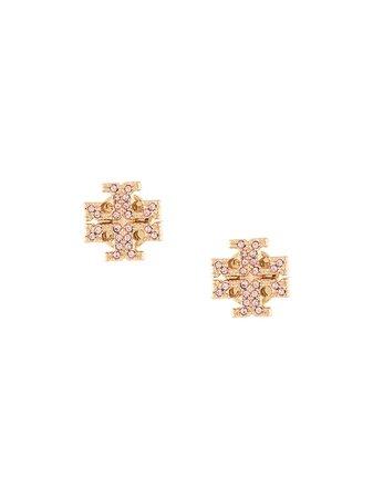 Tory Burch Crystal Logo Stud Earring | Farfetch.com