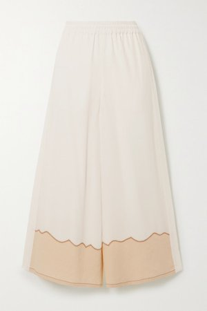 Silk Crepe De Chine And Linen Wide-leg Pants - White