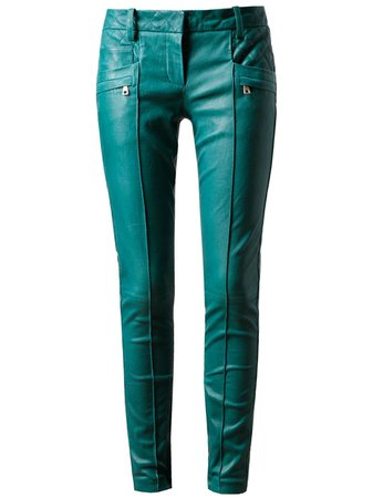 teal leather pants