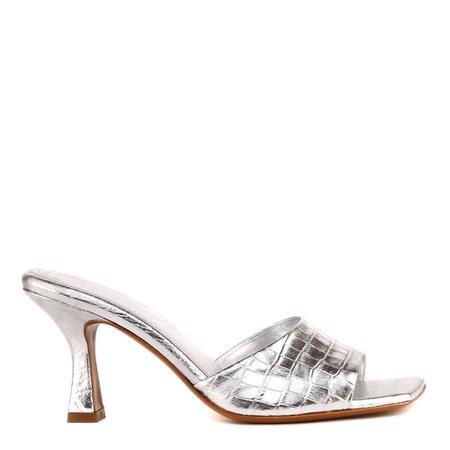 Aldo Castagna Embossed Metallic Leather Open Toe Sandals