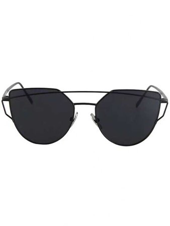 Metal Bar Black Frame Sunglasses BLACK: Sunglasses | ZAFUL