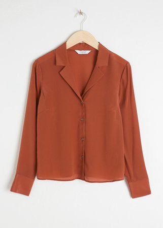 V-Cut Silk Button Up Blouse - Rust - Shirts - & Other Stories