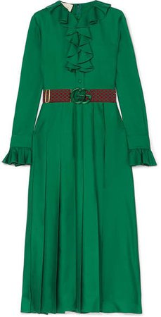 Belted Ruffle-trimmed Pleated Silk-twill Dress - Green