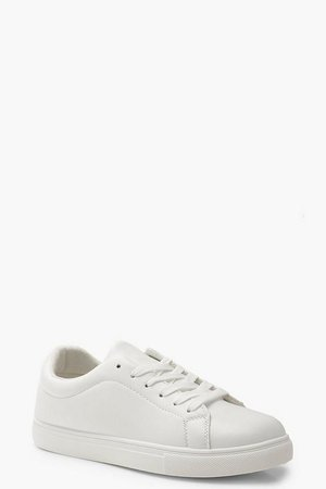 Lace Up Flat Trainers | Boohoo