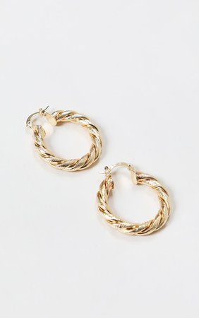 Gold Rope Twist Hoop Earrings | Accessories | PrettyLittleThing USA