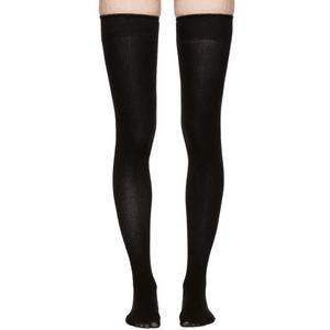 MARIEYAT Black Doodle Thigh-High Socks PNG