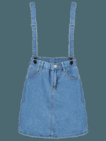 Mini Pocket Denim Suspender Skirt