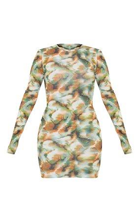 Khaki Tie Dye Ribbed Long Sleeve Bodycon Dress   PrettyLittleThing USA