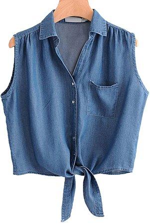 Amazon.com: Omoone Women's 3/4 Sleeve Denim Crop Top Tie Knot Shirt Cardigan (0774-Light Blue-M): Clothing