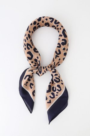 Cool Navy Blue Leopard Print Scarf - Satin Scarf - Square Scarf