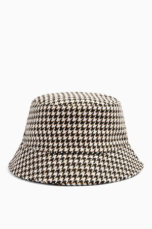 Black And White Houndstooth Bucket Hat   Topshop
