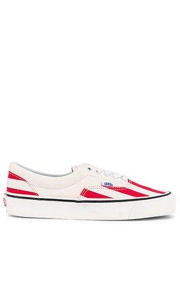 Vans Era 95 Stripes Sneaker in OG White & OG Red | REVOLVE