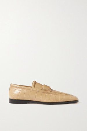 Croc-effect Leather Loafers - Beige