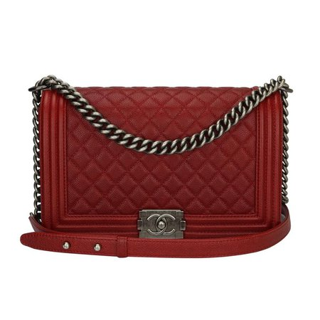 Chanel Medium Rich Red Caviar Quilted Boy Bag with Ruthenium Hardware, 2015