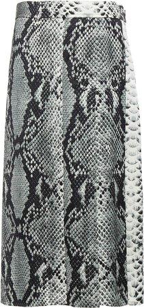 Joseph Sima Pleated Snake-Print Satin Midi Skirt
