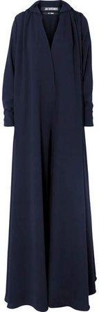 L'ensemble Djellaba Oversized Wool-crepe Jumpsuit - Navy
