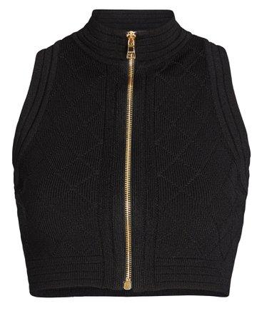 Balmain Diamond Knit Zip Crop Top   INTERMIX®