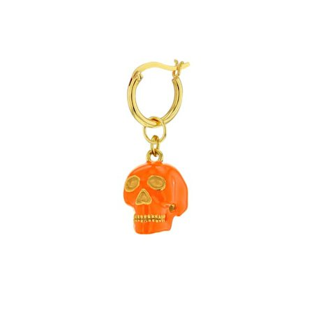 Orange & Gold Plated Mini Skull Hoop Earring   True Rocks   Wolf & Badger