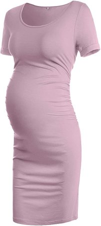 Musidora Maternity Dresses Casual Ruched Sides Bodycon Dress for Daily Life or Baby Shower at Amazon Women's Clothing store