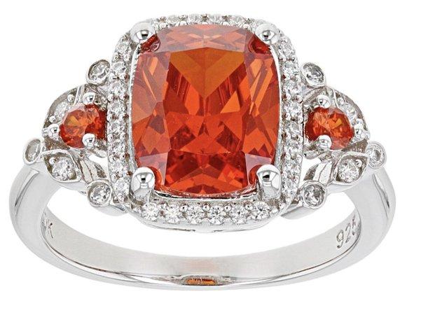 Orange Padparadscha Gemstone Diamond Ring