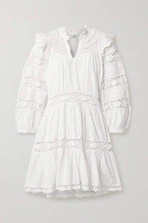 Lea Crochet-trimmed Ruffled Broderie Anglaise Cotton Mini Dress - White