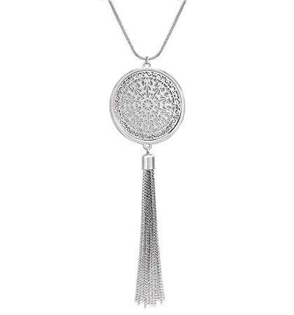 Amazon.com: Long Necklaces For Woman Disk Circle Pendant Necklaces Tassel Fringe Necklace Set Statement Pendant (silver): Jewelry
