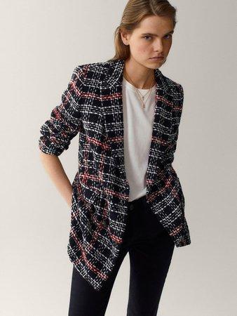 Contrast-coloured textured blazer - Women - Massimo Dutti