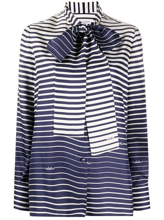 Valentino Striped Pussy-Bow Blouse Ss20 | Farfetch.com
