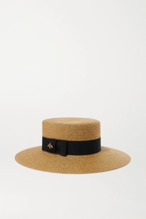 Gold Grosgrain-trimmed glittered straw hat | Gucci | NET-A-PORTER