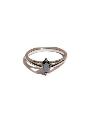 Bliss Lau - Black Diamond Minimalist Arc Ring | BONA DRAG