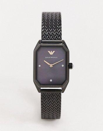 Emporio Armani mesh watch in black AR11271 | ASOS