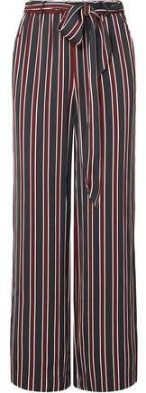 Easy Belted Striped Charmeuse Wide-leg Pants
