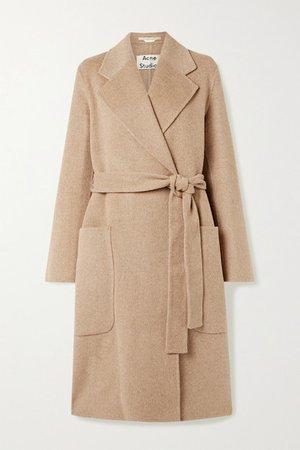 Belted Wool Coat - Camel