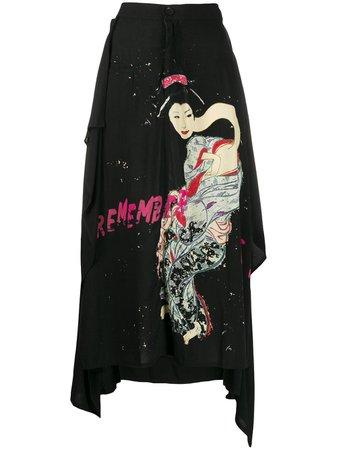 Yohji Yamamoto Printed Asymmetric Skirt - Farfetch