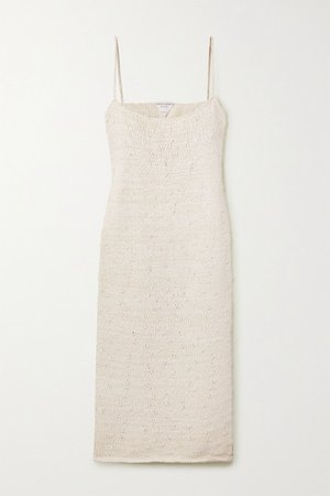 Cotton-blend Midi Dress - White