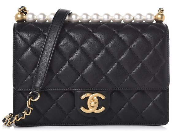 chanel purse with pearls on top