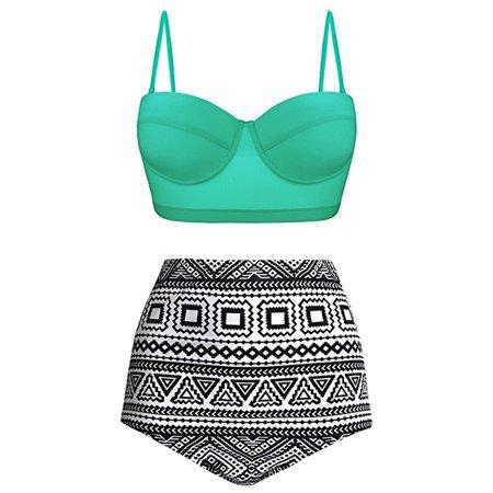 Women Sexy Two Piece Swimsuit High Waist Bikini Set Swimwear Bathing Suit Swimsuit - Walmart.com